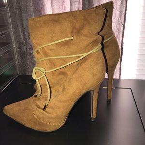 Tan soft suede high heeled booties